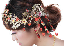 Freeshipping red rhinestone classical Gorgeous chinese style tassel bride  hair accessory , cheongsam