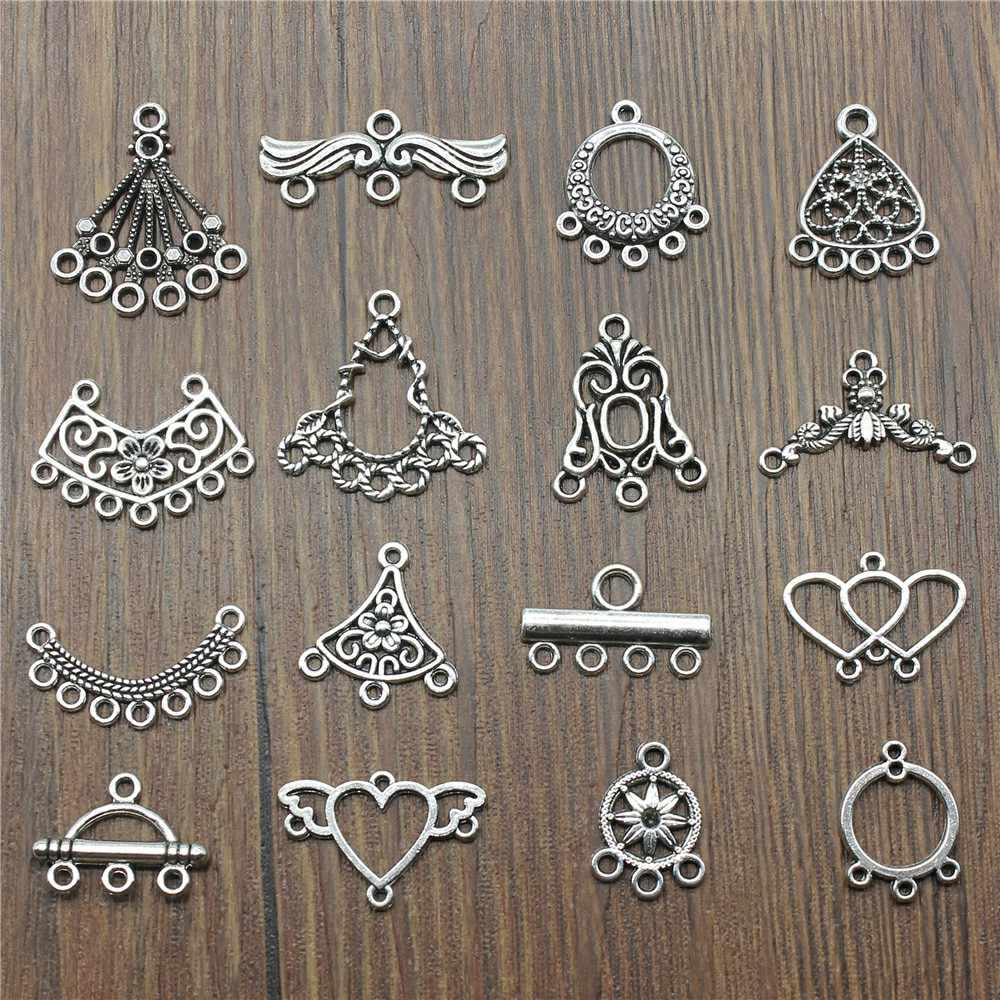 Antique Silver Color Earrings Connection Charm Jewelry Earrings Connector Charm For Earring Making