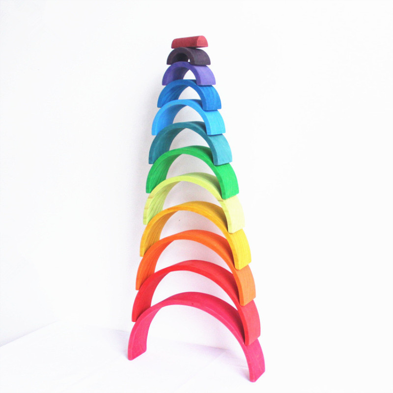 DROPSHIPPIN 12Pcs Wooden Rainbow Blocks Wooden Building Blocks For Kid Rainbow Building Blocks Montessori Educational Wooden Toy