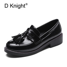 D Knight Ladies Casual Flat Loafers Shoes Fashion Tassel Round Toe Women Flats Size 34-43 Women's Flats New England Women Oxford 2017 new candy color women loafers tassel fashion round toe ladies flat shoes woman sweet flats casual shoes k69