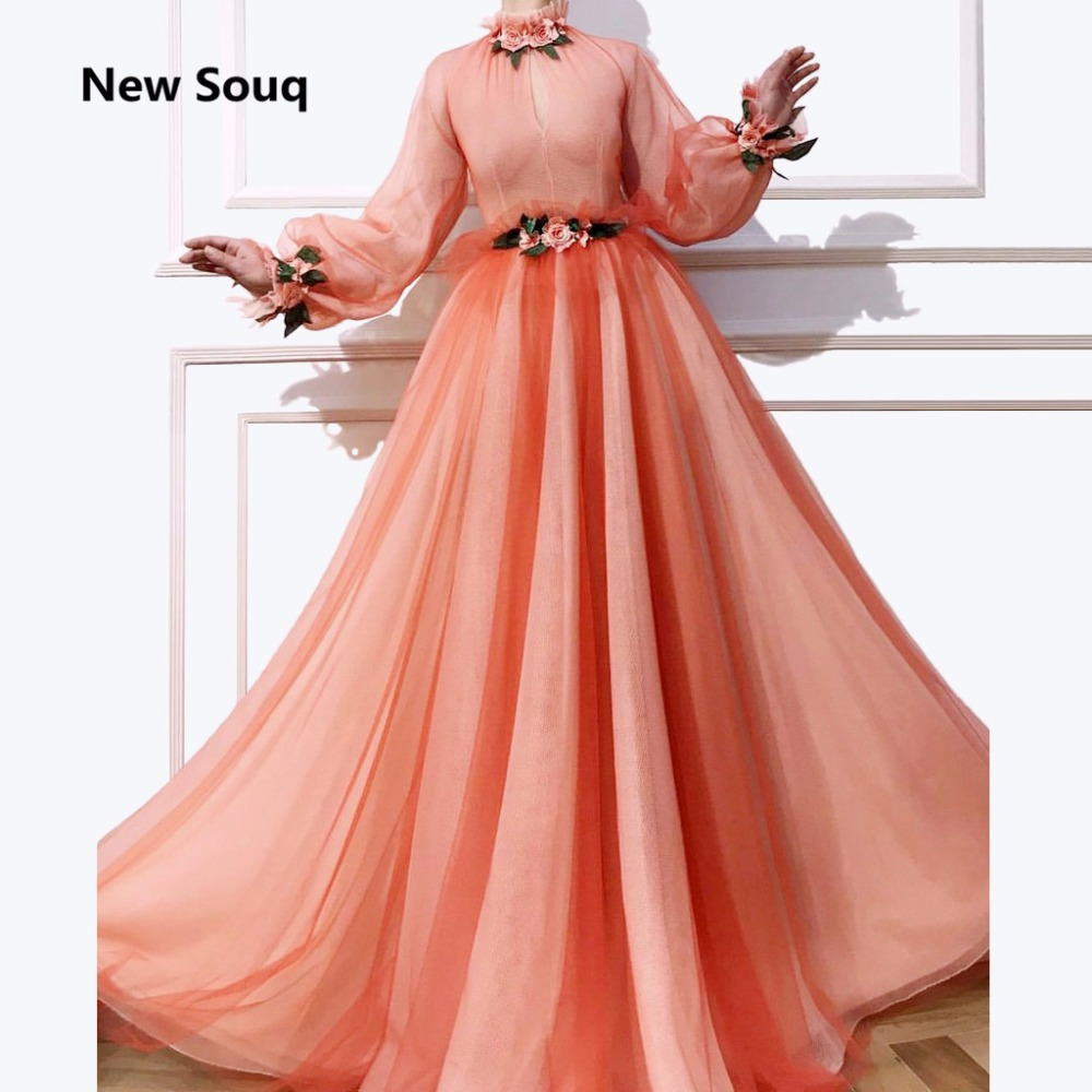 Blush Rosa Suave Tulle vestido de Verão Uma Linha de Vestidos de Noite Flor Rosa Gola Alta Mangas Compridas Moda Vestido de Baile Desgaste Do Partido Personalizado - 5
