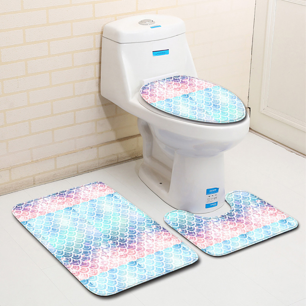 3pcs Bath Mats Carpet Set Non Slip Fish Scale Mat Bathroom Kitchen Doormats Decor Toilet Seat Cover Rug In From Home Garden