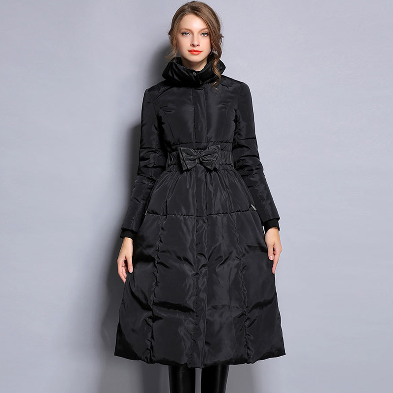 YNZZU New Winter Collection Plus Size Women Warm   Down     Coat   Elegant Black Waist Bow Female Extra Long Slim Jackets Windproof O042