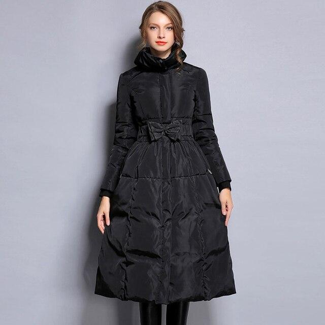 Ynzzu новая зимняя коллекция плюс Размеры Для женщин Теплый пуховик элегантный черный Талия Лук женский Экстра длинный тонкий Куртки ветрозащитный O042