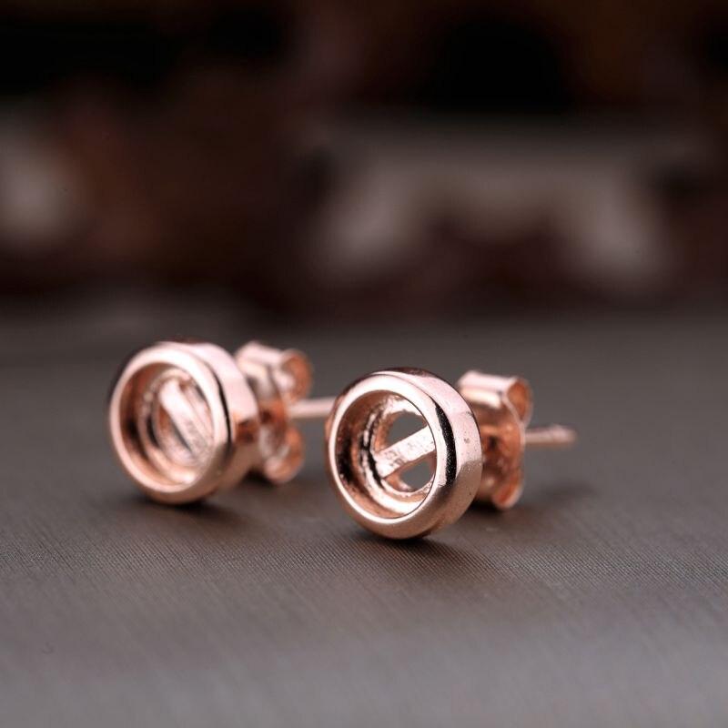 Серебро 925 Розовое золото Цвет Для женщин полу крепление Серьги-гвоздики круглый кабошон 5x5 или 10x10 мм ювелирные украшения для Янтарный Агат