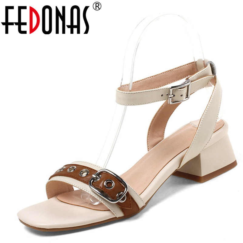 FEDONAS Summer New Women Genuine Leather Shoes Woman Sandals Fashion Comfortable Buckles Wedding Party Shoes Females Sandals summer shoes woman handmade genuine leather soft sandals casual comfortable women shoes 2017 new fashion women sandals