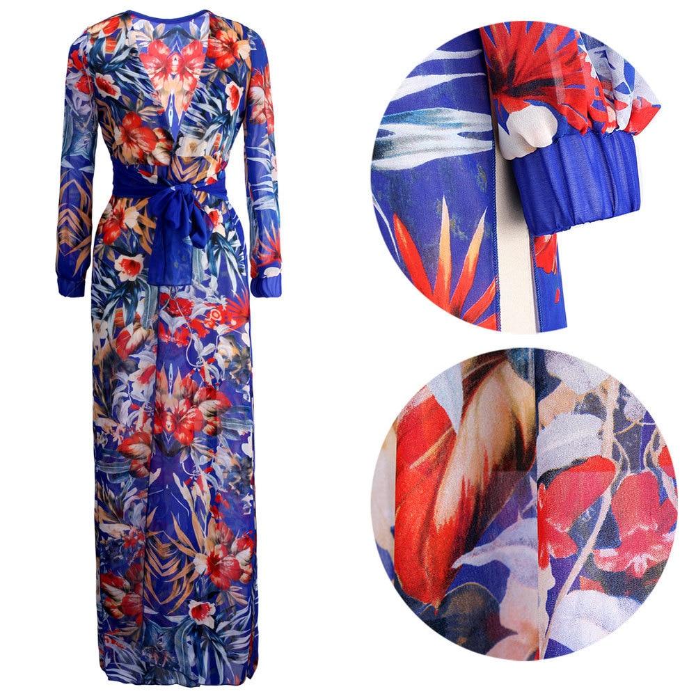 Discounted Sommerkleid Frauen Blumenstrandkleid Blume Langes Kleid - Damenbekleidung - Foto 3