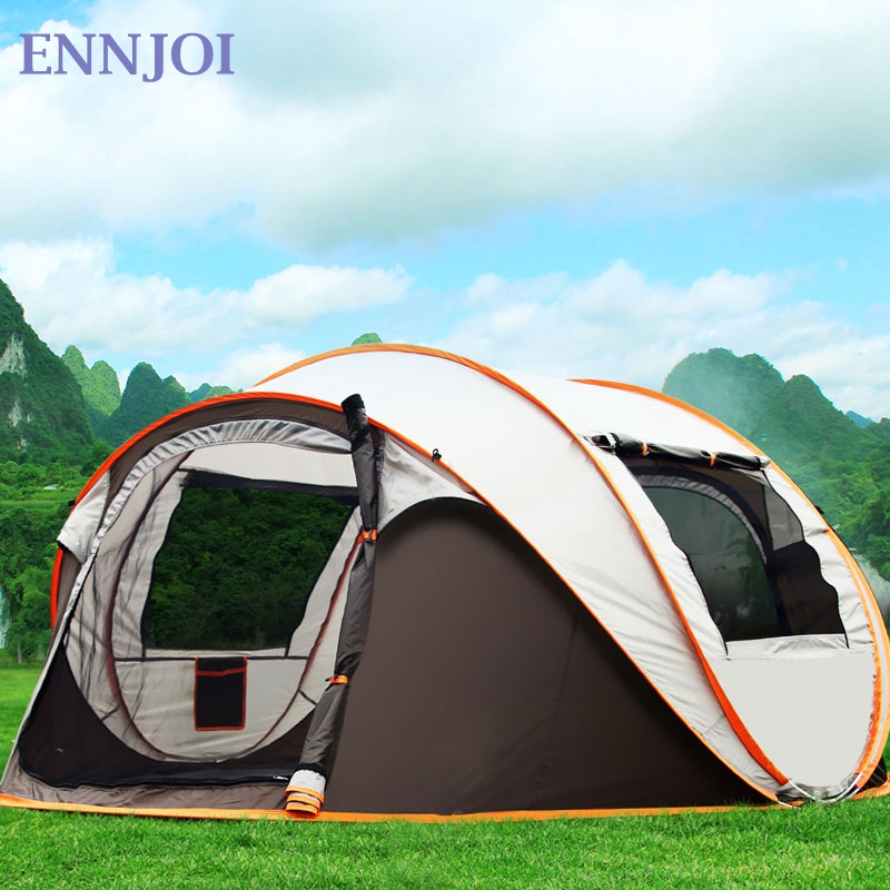 ENNJOI  3 -- 4Person Fully Automatic Open Up Large Single Layer Camping Tent Outdoor Waterproof Sunscreen Camping Hiking Tent outdoor double layer 10 14 persons camping holiday arbor tent sun canopy canopy tent
