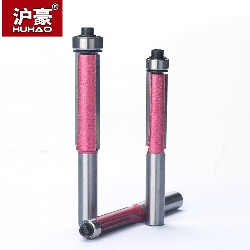 HUHAO 1 unid 8mm Shank Flush Trim Router Bits para madera grado Industrial cuchillas de corte con rodamiento fresado cortador
