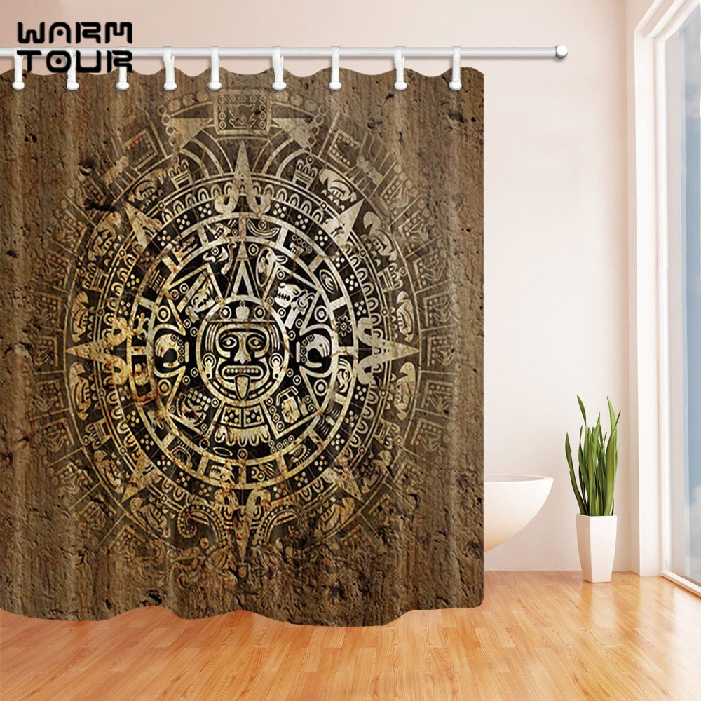 Warm Tour Native American Decor Decorative Fabric Shower Curtains Simple Polyester Waterproof Bathroom Curtain
