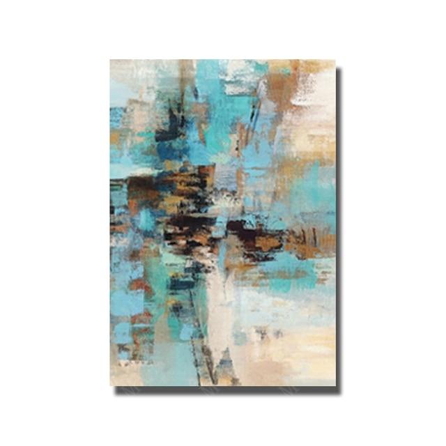 Zusammenfassung Dekor Malerei Handarbeit Blau ölgemälde Auf Leinwand