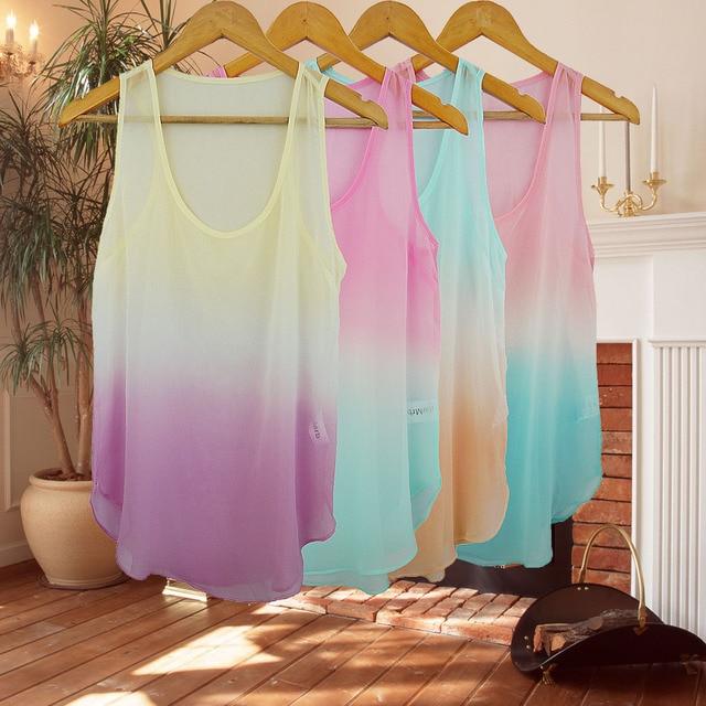 Fashion gradient chiffon small vest chiffon shirt vest t-shirt women's