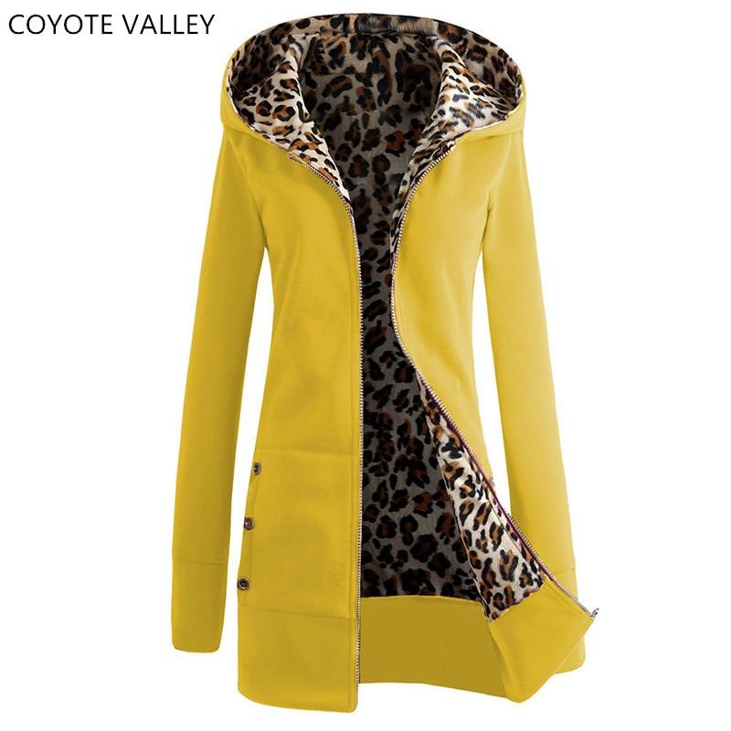 COYOTE VALLEY The new 2017 thickening and hooded fleece big yards leopard print fleece jacket ladies fashion coat women fleece
