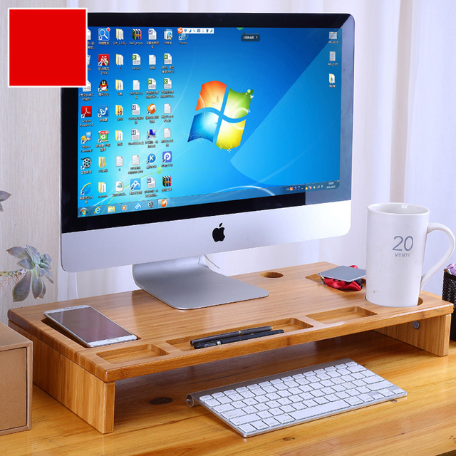Bamboo Monitor Stand Riser With Storage Organizer Laptop Cellphone Tv Printer Desktop Container