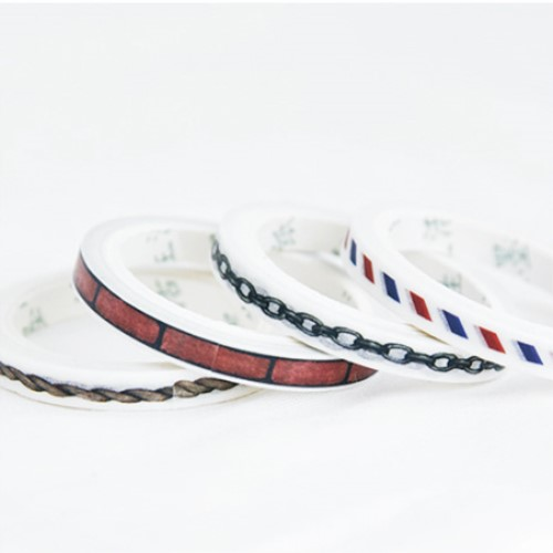 Chains Geometric Slim Washi Tape 5mm Wide DIY Decoration Scrapbooking Planner Masking Tape Adhesive Kawaii Stationery