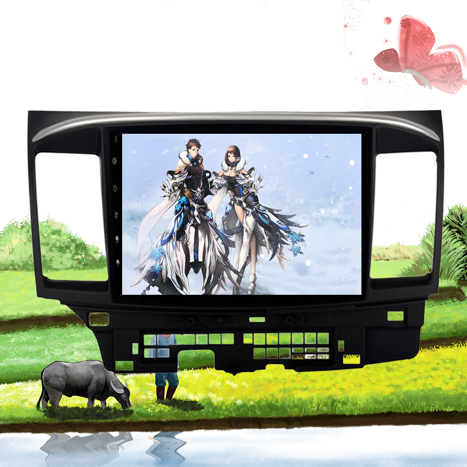 Android 9.1 car dvd player for mitsubishi lancer 2007 - 2015 2 din 1024*600 gps navigation wifi Octa core Cassette image