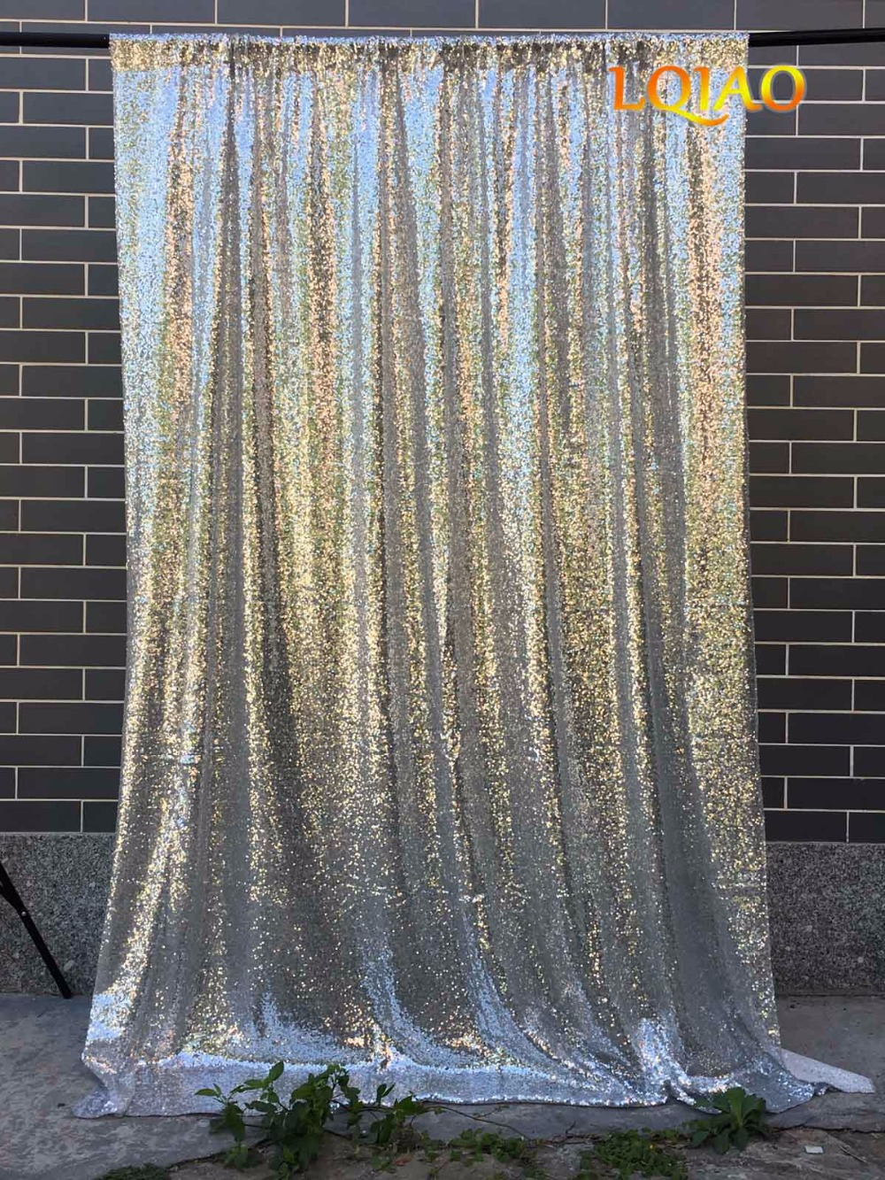 4ftx8ft Glitter Silver Sequin Bakgrund Bröllop Foto Booth Bakgrund - Semester och fester