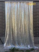 4ftx8ft Glitter Perak Sequin Backdrop Wedding Photo Booth Backdrop untuk Party Baby Shower Decoration Photography Background