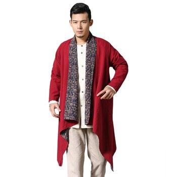 LZJN 2019 Spring Autumn Trench Coat Mens Overcoat Kimono Cotton Linen Shirt Reversible Windbreaker Casual Blouse Ethnic Clothes