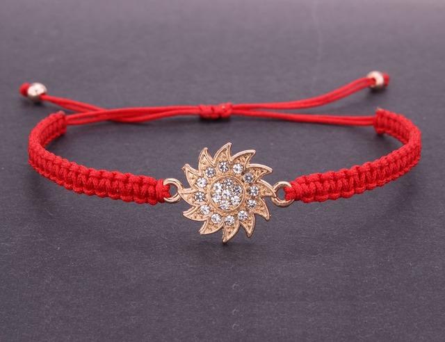 Sun Flower Charm Adjustable Braided Bracelet