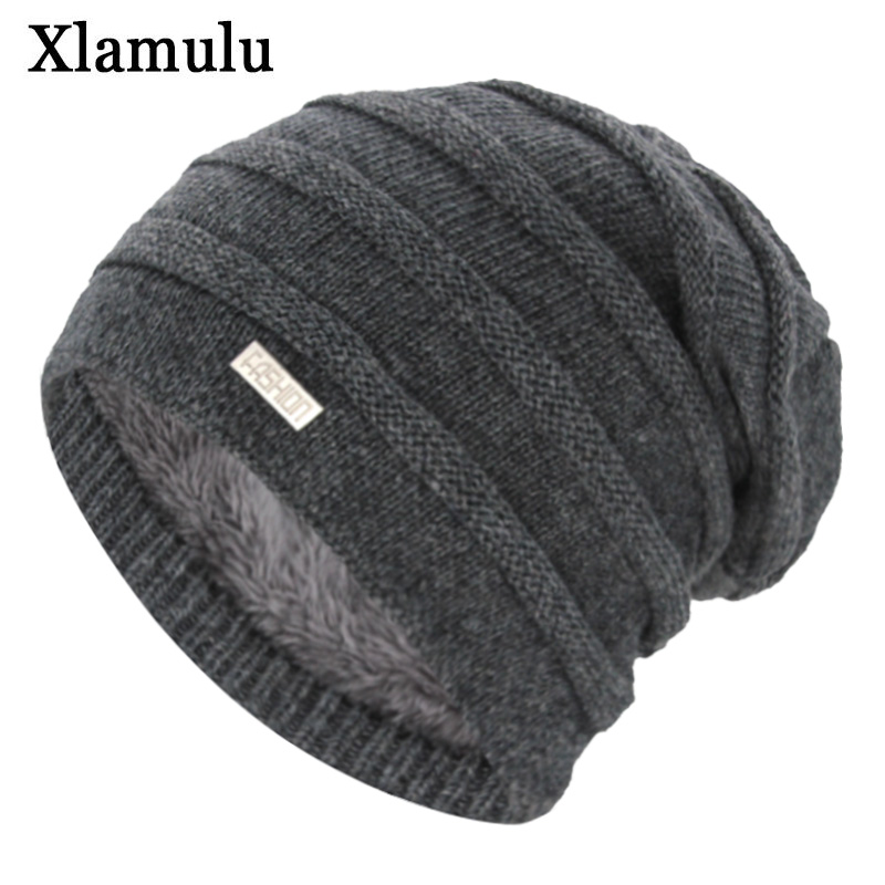 Xlamulu New   Skullies     Beanies   Women Knitted Hat Winter Hats For Men Women Brand Gorros Bonnet Striped Warm Wool Male   Beanie   Cap