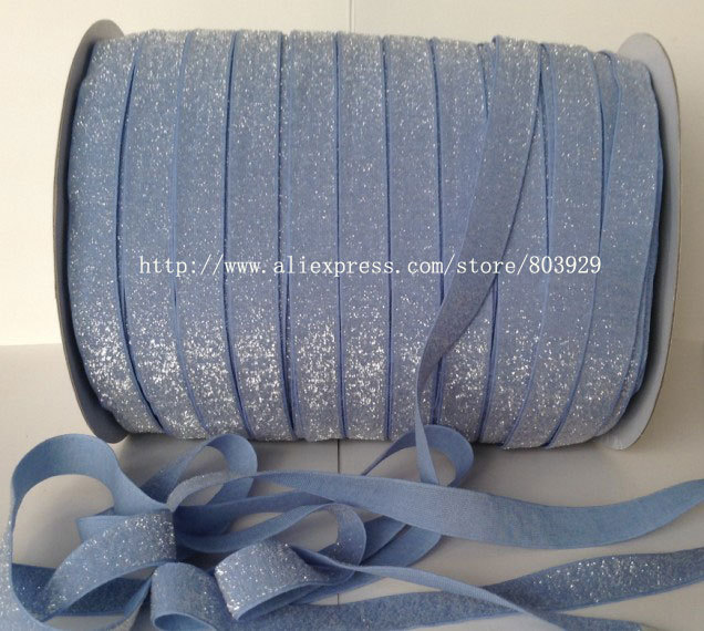 50yards lot Non stretch 1 5 Frosted French Blue Glitter Ribbon