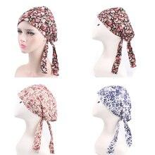 Señoras Bandana mujeres cabeza bufanda turbante pre-atado Chemo sombrero  hecho punto algodón suave impreso e9a6c90e381