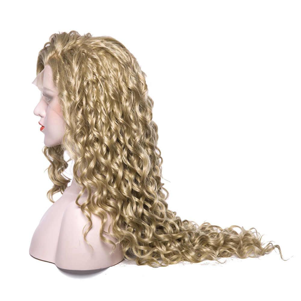 EEWIGS термостойкий синтетический парик фронта шнурка натуральный белокурый, кудрявый парик чистый цвет длинные коричневые женские парики для Драг королевы