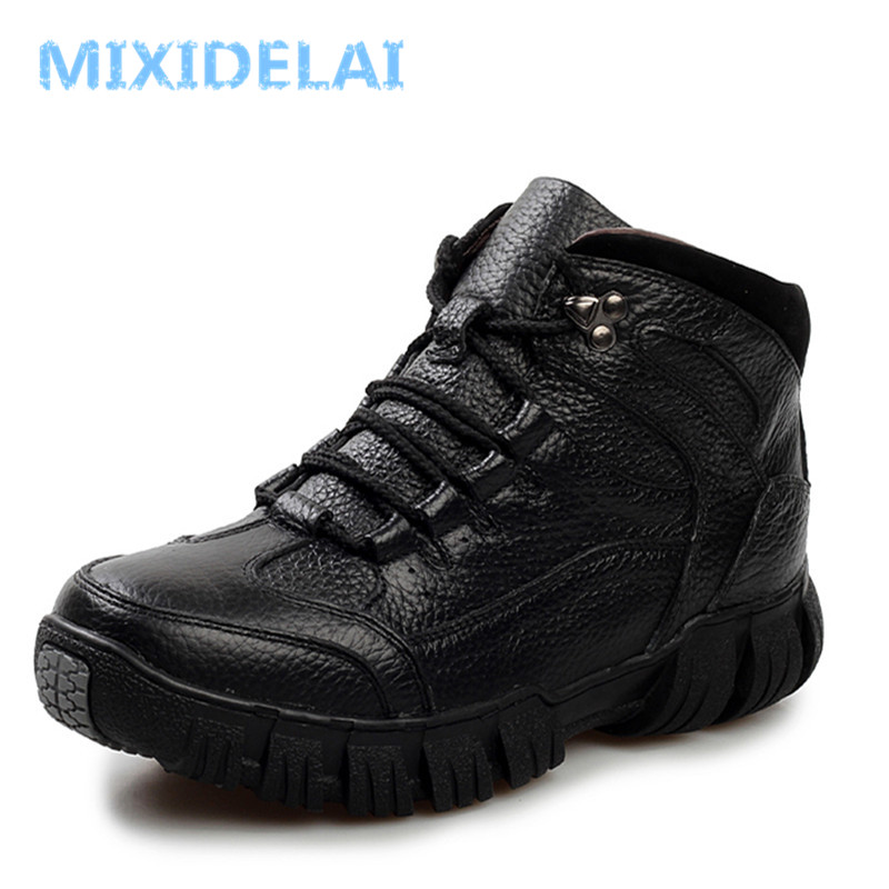 MIXIDELAI Genuine Leather Men Boots, Handmade Super Warm Men Winter Shoes,High Quality Ankle Boots For Autumn And Winter Shoes