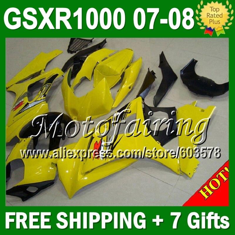 7gifts NEW For SUZUKI GSX R1000 HOT Yellow K7 07 08 GSXR1000 GSXR 1000 848 Yellow GSX R1000 K7 2007 2008 Fairing Bodywork
