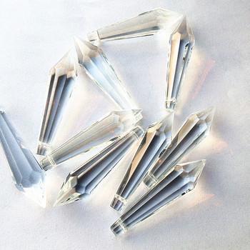 25 sztuk partia 55*12mm kryształowe pryzmaty krople sopel do zawieszenia (darmowe pierścienie) do części do żyrandola koraliki akcesoria do zasłon tanie i dobre opinie Kryształowy żyrandol 55mm W-111 crystal raindrop shape hanging pendants 25pcs clear fengshui K9 Crystal chandelier hanging pendants decoration