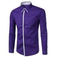 Zarif Mor Bluz Yemeği Parti Giymek Genç Insanlar Ince Üstleri Uzun Kollu Boys Yenilik Düğmeler Kulübü Gömlek Boy Okul Giysileri