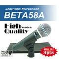 Бесплатная Доставка! 3 шт. Высокое Качество Версия Beta 58a Вокальный Динамический Проводной Микрофон Караоке Ручной Микрофон BETA58 Бета 58 Микрофон