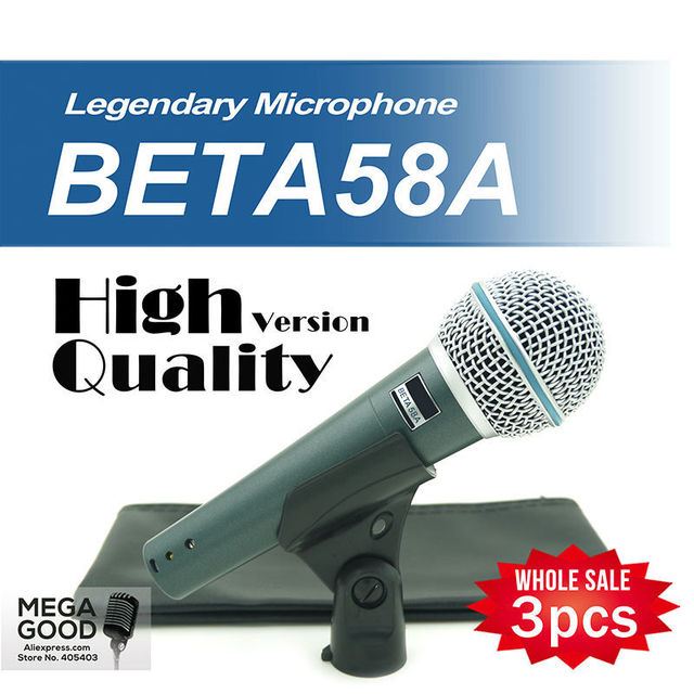 Free Shipping! 3pcs High Quality Version Beta 58a Vocal Karaoke Handheld Dynamic Wired Microphone BETA58 Microfone Beta 58 A Mic