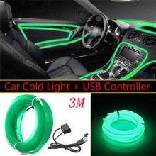 3 m Usb Verde Led Seqüência de Luz Brilho El Arame Corda Tubo Car Auto Suv Interior Decor