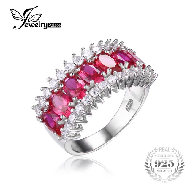 Fine Jewelry Womens Red Ruby Sterling Silver Cocktail Ring 15Z72