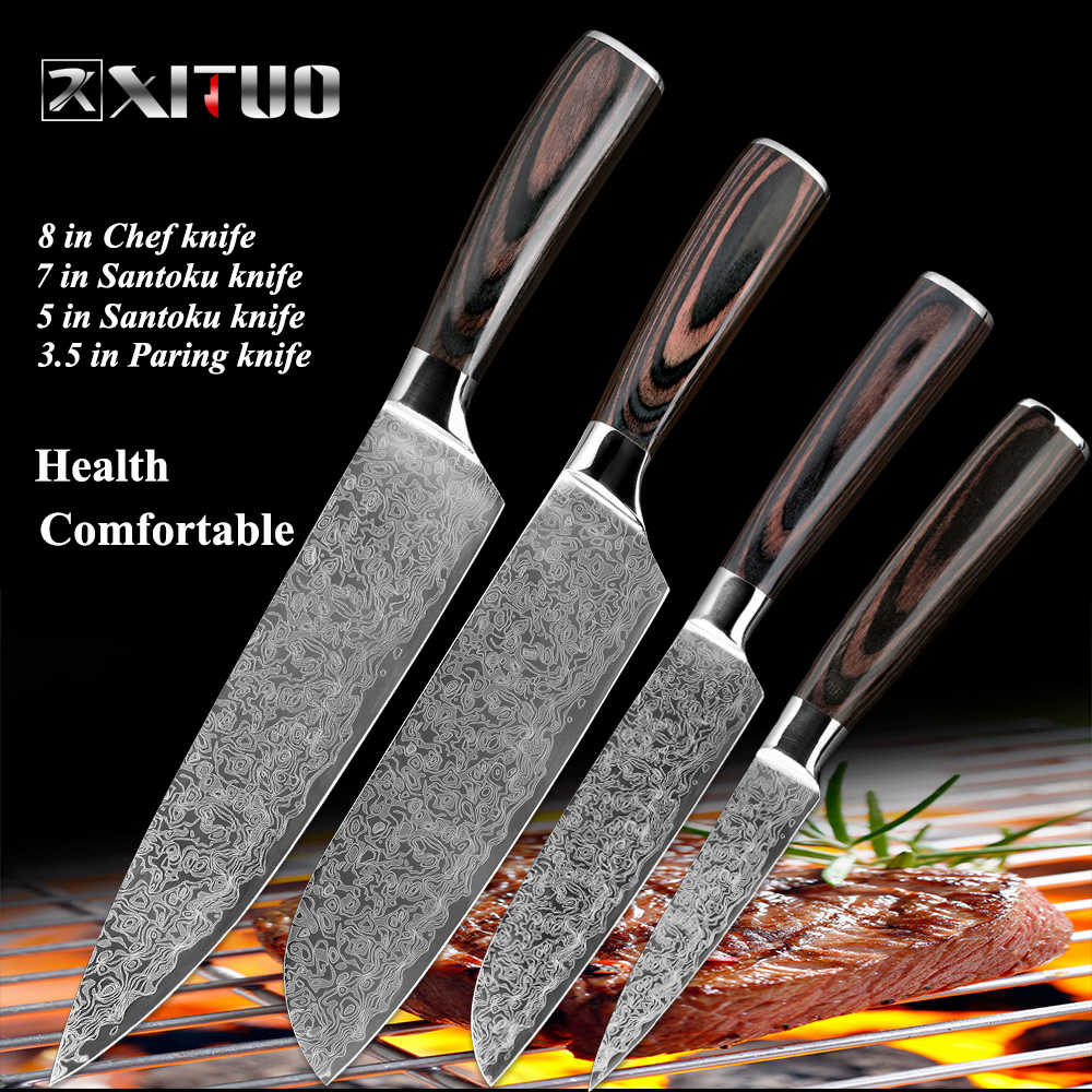 "XITUO Chef Knife Sets 8""7""5""3.5"" inch laser Damascus Steel Pattern Kitchen Knife Paring Cleaver Slicing Japan Knife Wood Handle"