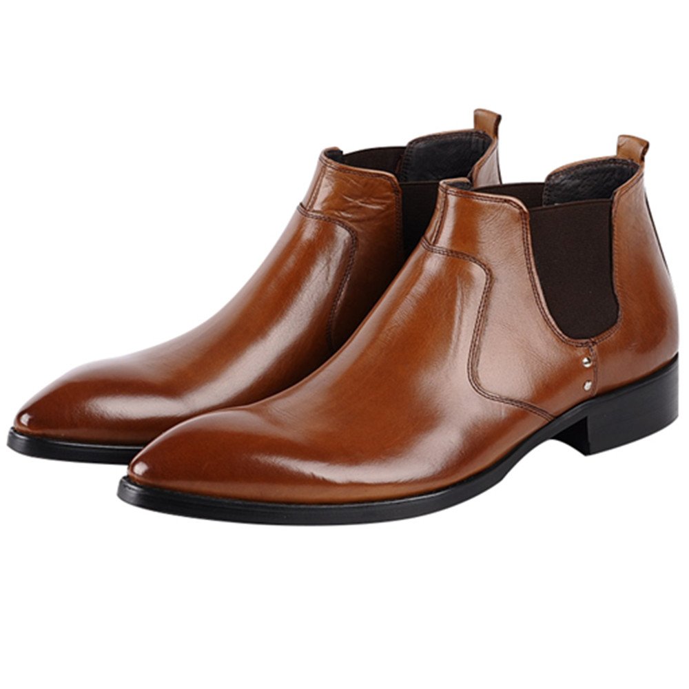 Large Size EUR45 Fashion Black / Brown Mens Ankle Boots Genuine Leather Dress Boots Male Business ShoesLarge Size EUR45 Fashion Black / Brown Mens Ankle Boots Genuine Leather Dress Boots Male Business Shoes