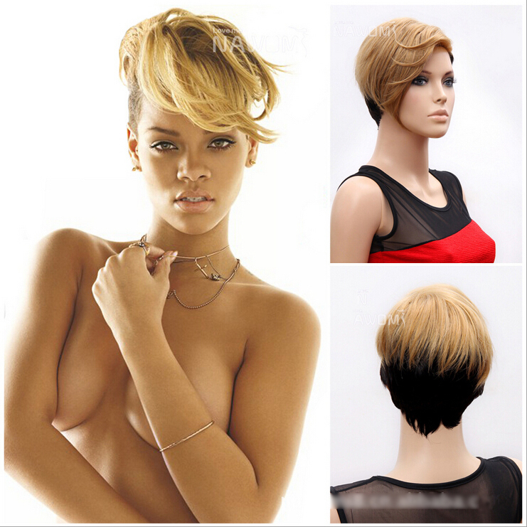 short sexy hair style hairstyles rihanna hair style black and 8923 | Celebrity Hairstyles Rihanna Sexy Hair style Black And Yellow Short Straight Oblique Bangs Lady s Fashion