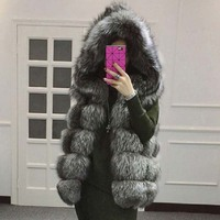 2016 Women S Winter Jacket Fox Fur Coat Hooded Vest Stripe Medium Long Vest Large Size