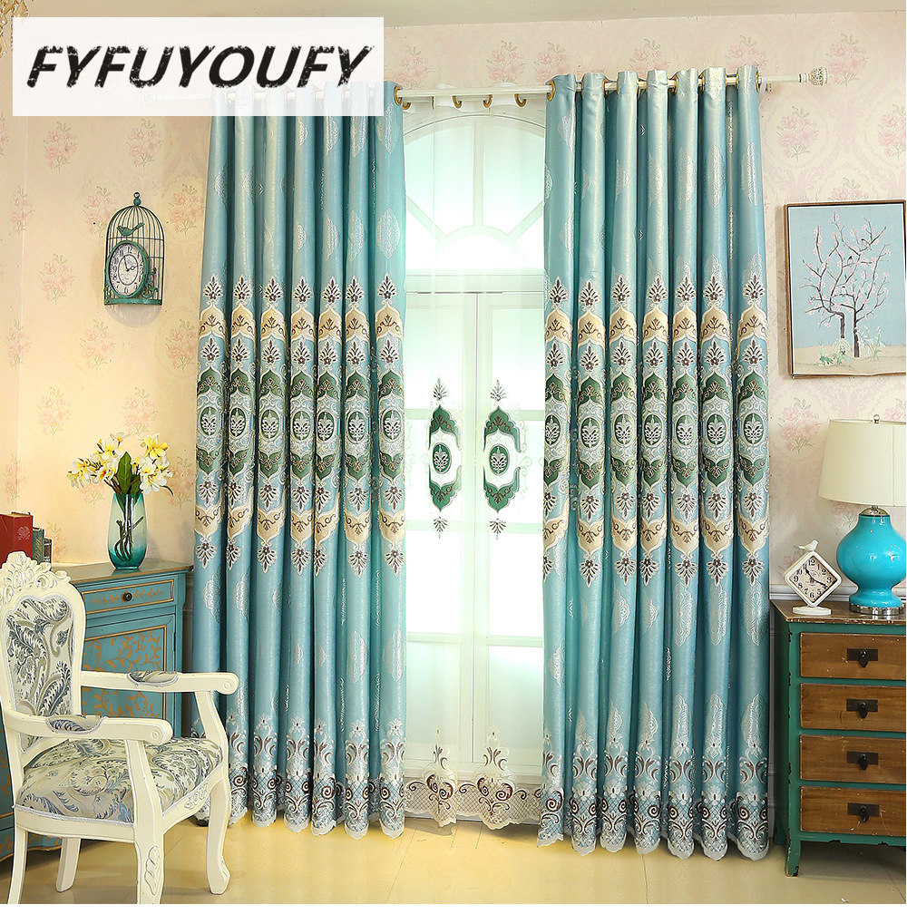 European luxury Thickening shading embroidery curtain fabric for ...