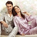 Art, 100% authentic mulberry silk pajamas for men and women lovers suits Printed pure silk leisurewear, 2230