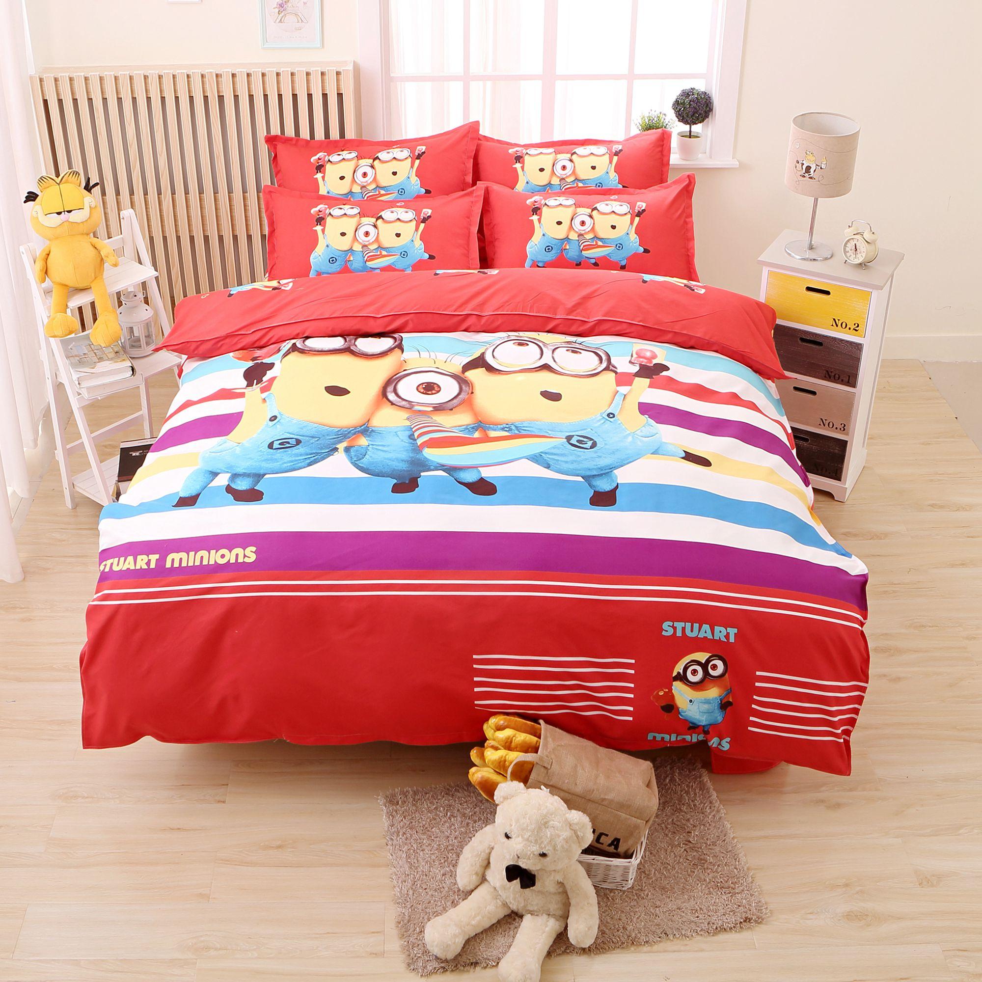 Hello kitty queen bed set - Children Kids Cute Cartoon Bedding Set Minions Pikachu Hello Kitty Printed Bedclothes Duvet Cover Set Twin