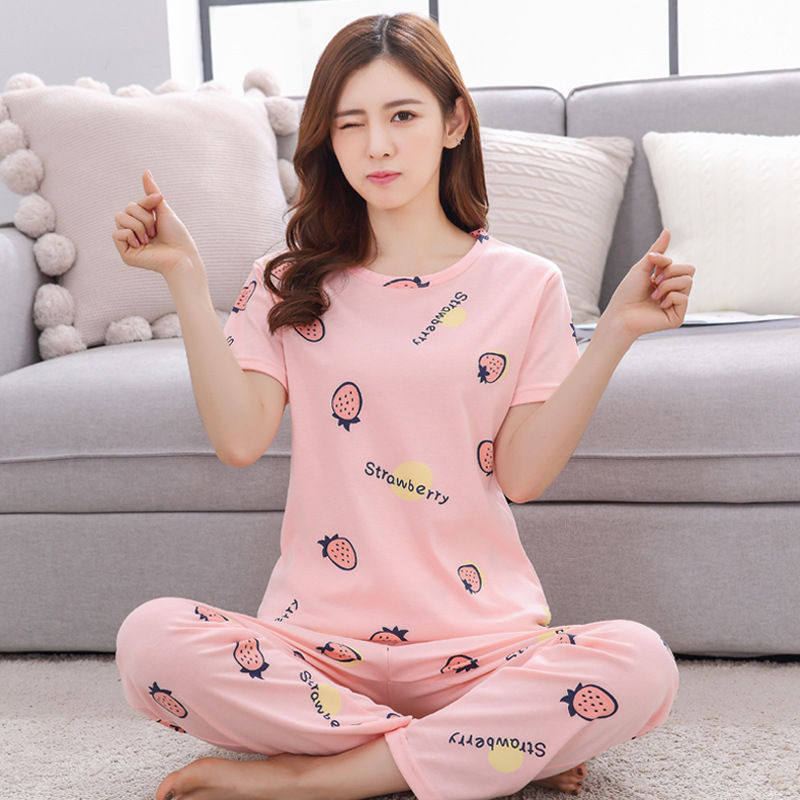 2018 Autumn Short sleeve pajamas for women tracksuit women's printing sleepwear set Student pijama suit soft home clothes
