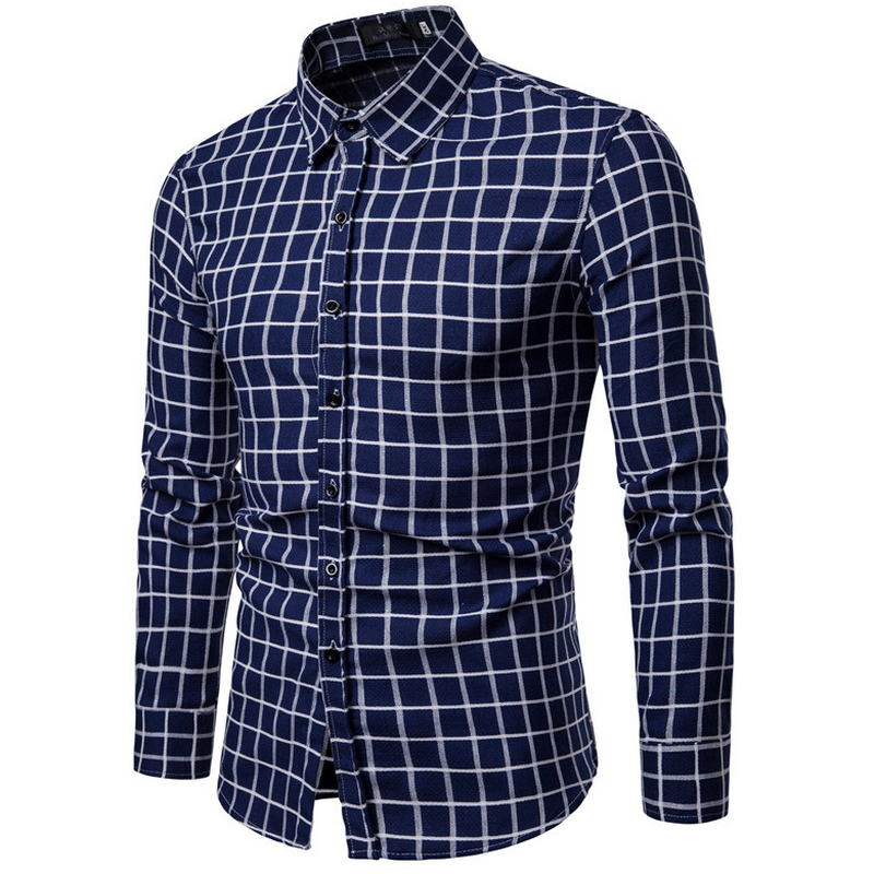2019 2018 New Grinding Hair Men Classic Plaid Shirt Long Sleeve ... efb0e7b5fbf5
