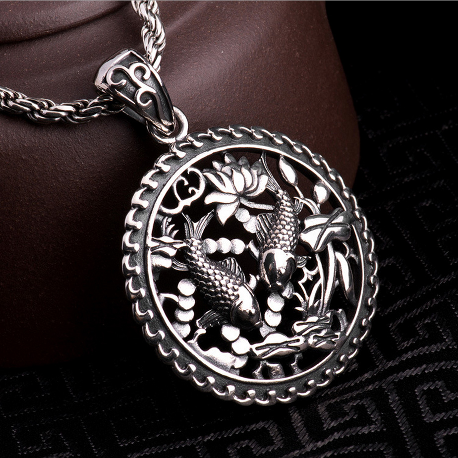 S925 Solid Silver Double Fish Pendant for Necklace Men Jewelry 100% Real 925 Sterling Silver Pendant HYP24