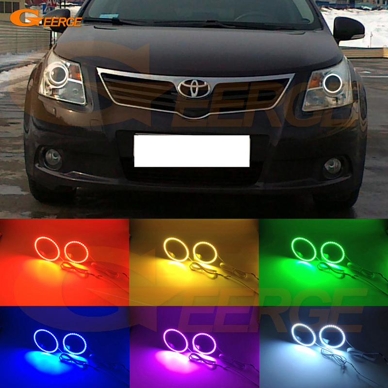 For Toyota Avensis T270 2009 2010 2011 Excellent Multi-Color Ultra bright RGB LED Angel Eyes kit Halo Rings for toyota highlander 2012 excellent angel eyes kit multi color ultrabright rgb led angel eyes halo rings