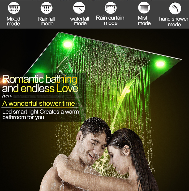 Luxury Led Rain Shower Head Large Rain LED Shower Set with Waterfall Shower Head with Embedded Ceiling 600x800 Rainfall Spout (9)