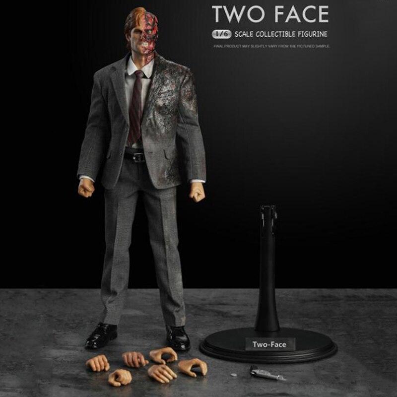 1/6 Échelle Deux-Visage Harvey Apollo Dent Figure Poupée W Stand évantail complet jouets figurines d'action Collection Parodie Horroable Terrible Cadeaux