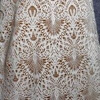 Nieuwe mode 120 cm breed door yard holle polyester borduurwerk water solrble katoen kant stof jurk/polyester stof
